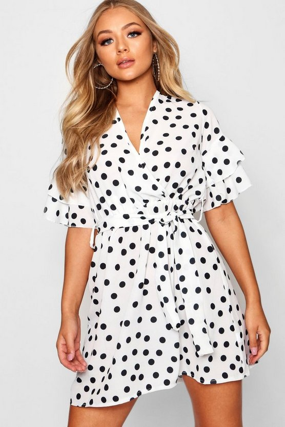 Womens Ivory Large Polka Dot Floral Tea Dress