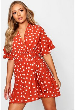 Womens Rust Large Polka Dot Floral Tea Dress