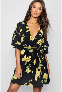 Womens Black Ruffle Sleeve Floral Tea Dress