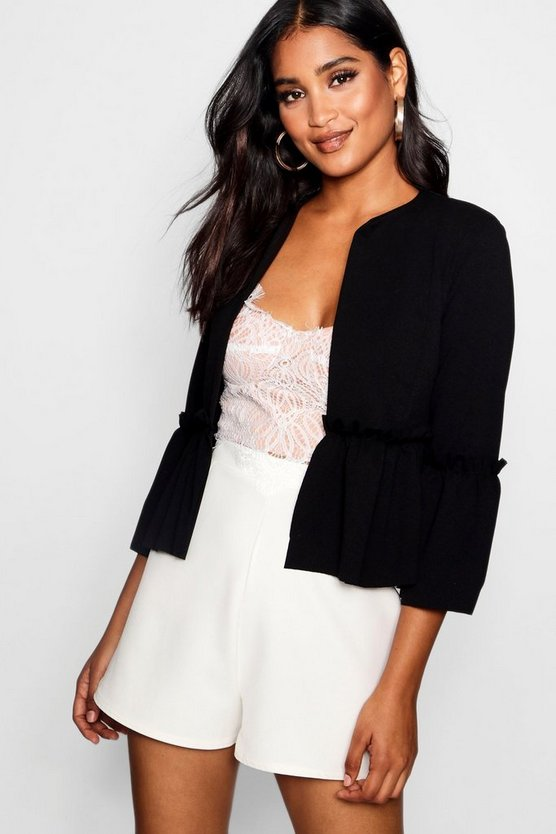 Womens Black Ruffle Detail Cropped Jacket