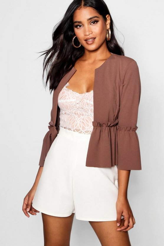 Ruffle Detail Cropped Jacket