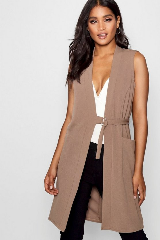 D-Ring Detail Sleeveless Duster Coat