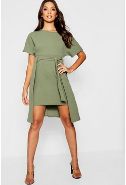 Womens Khaki Tie Front Skater Dress