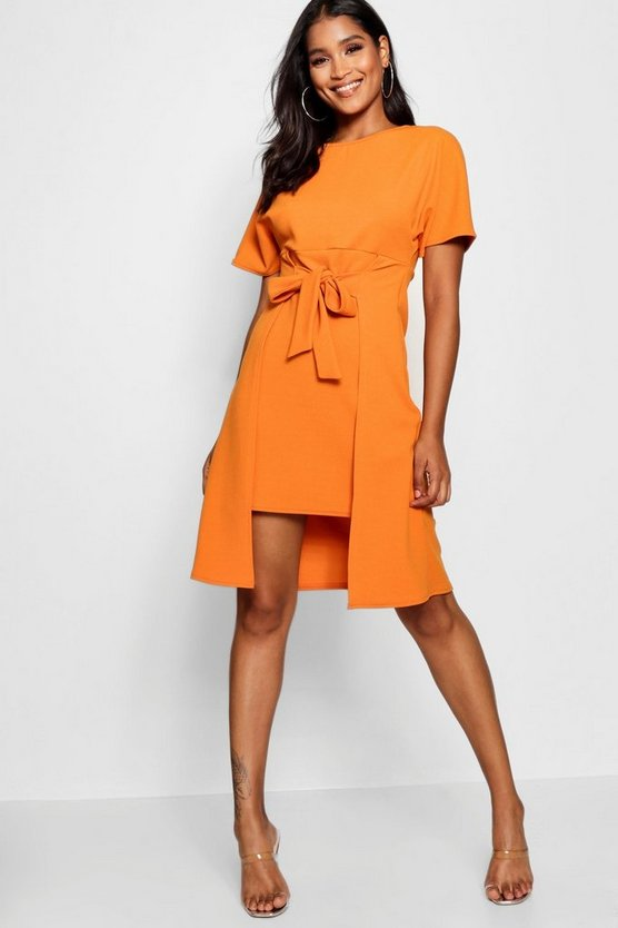 Womens Tangerine Tie Front Skater Dress
