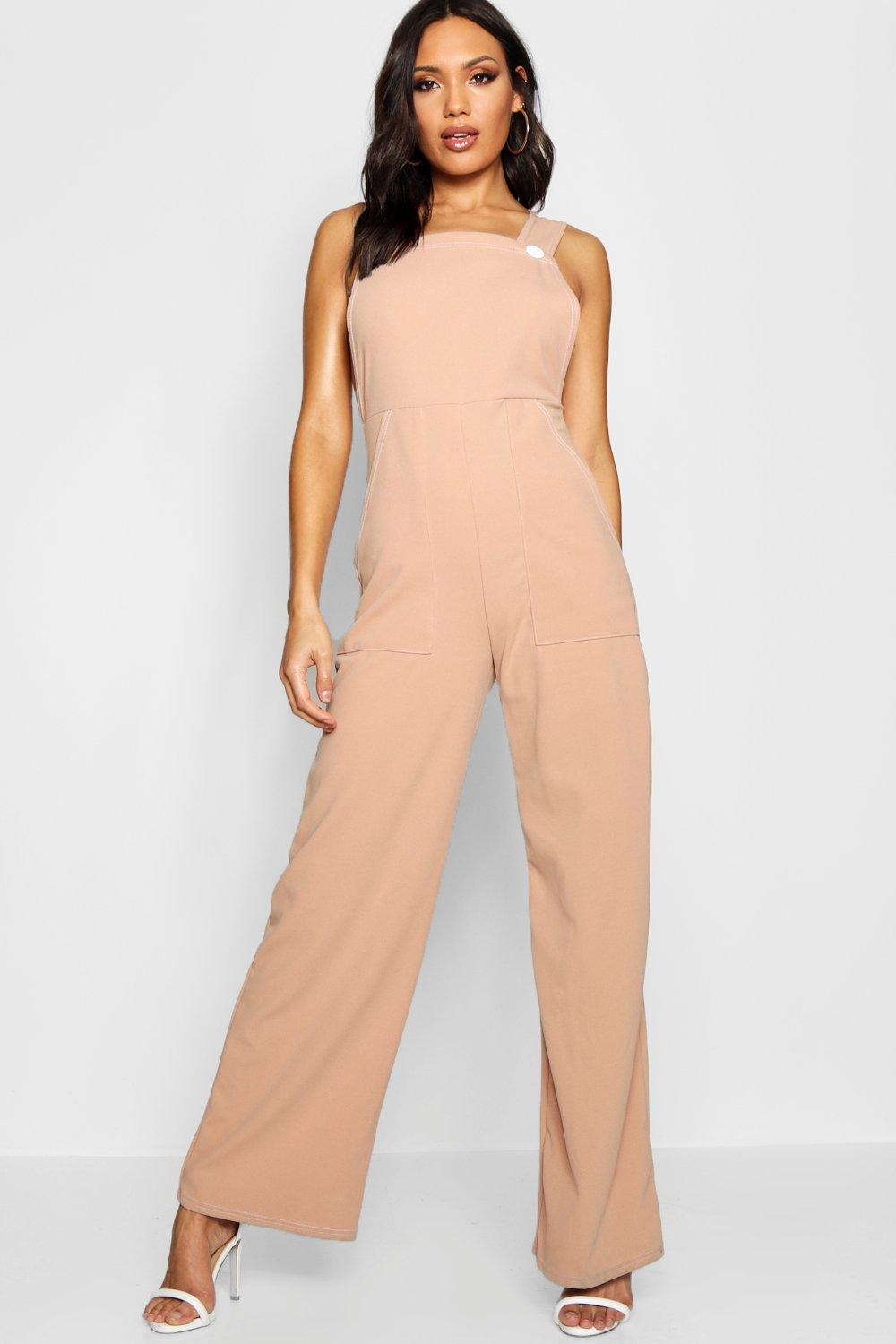 6c8dba207cd Contrast Stitch Button Detail Jumpsuit. Hover to zoom