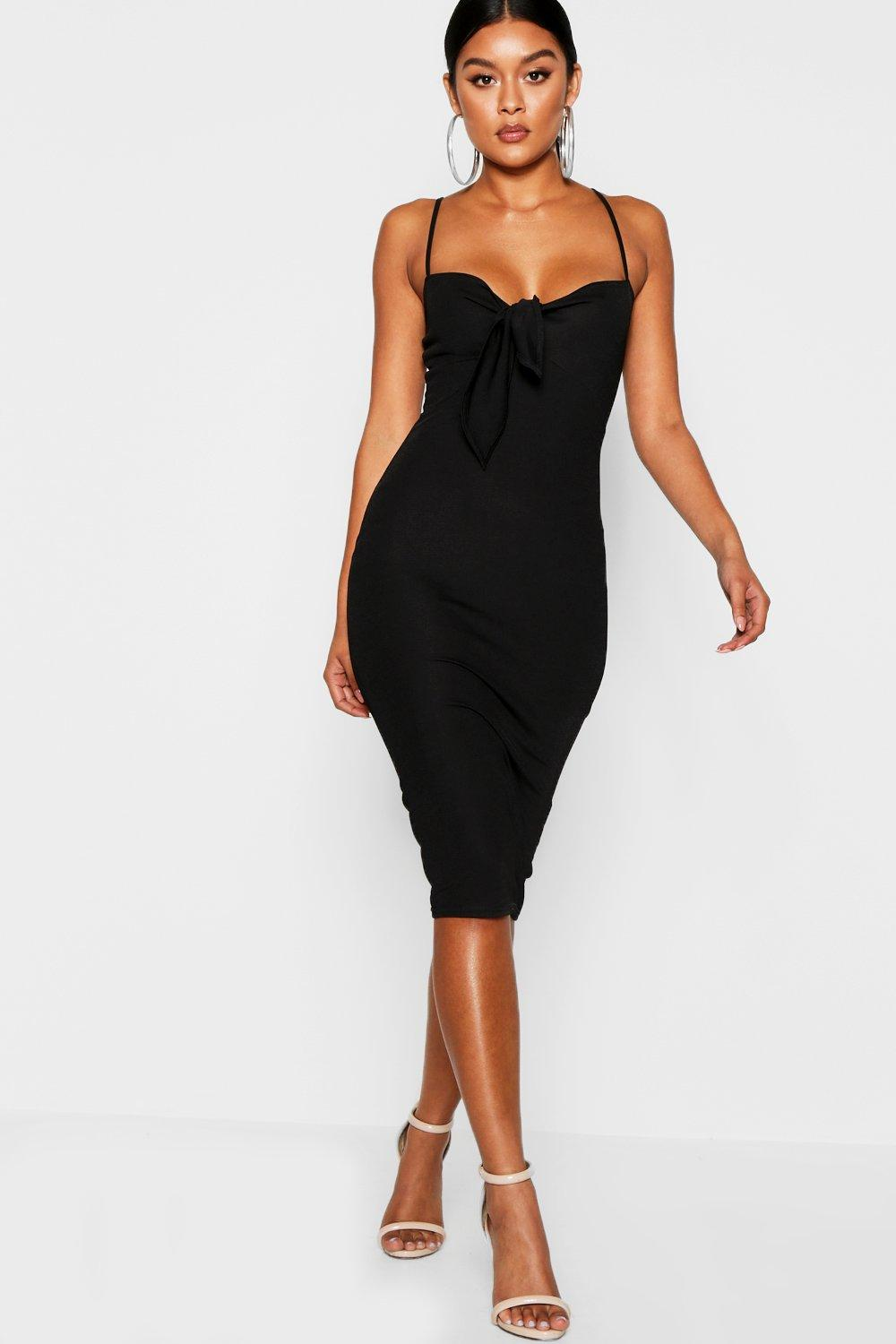 c020be1883 Skinny Strap Tie Front Midi Dress. Hover to zoom