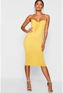 Womens Mustard Skinny Strap Tie Front Midi Dress