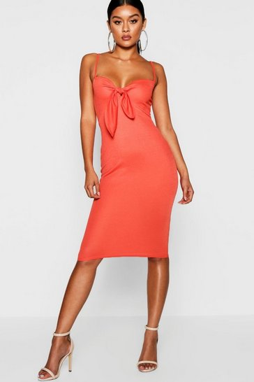 Womens Orange Skinny Strap Tie Front Midi Dress