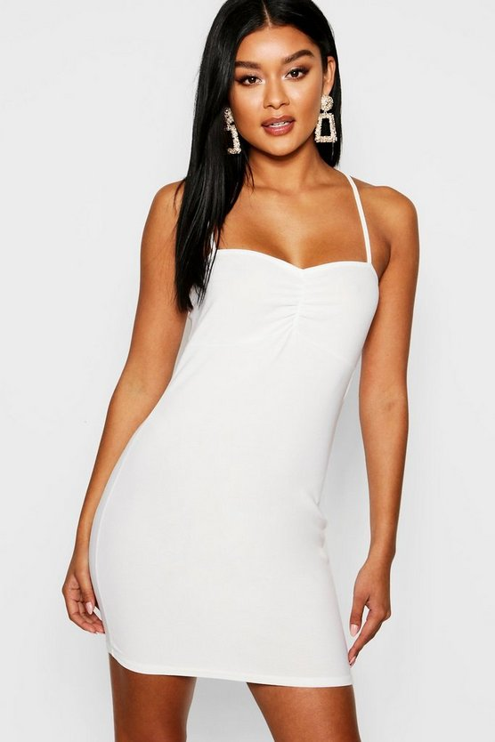 Cross Neck Ruched Bust Bodycon Dress