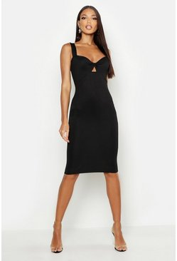 Womens Black Twist Bust Midi Dress
