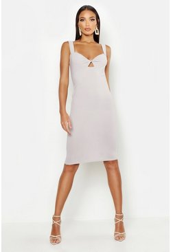 Womens Grey Twist Bust Midi Dress