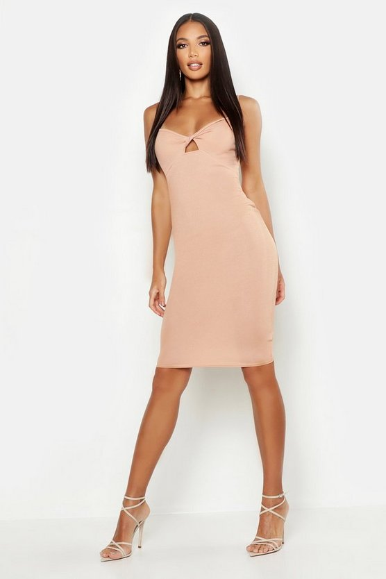 Womens Stone Twist Bust Midi Dress