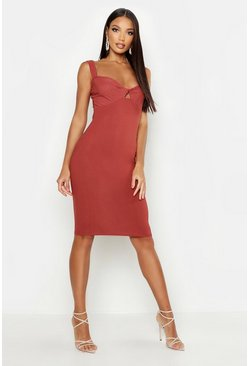 Womens Terracotta Twist Bust Midi Dress
