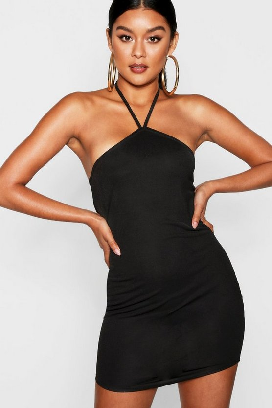 Halter Neck Point Hem Bodycon Dress