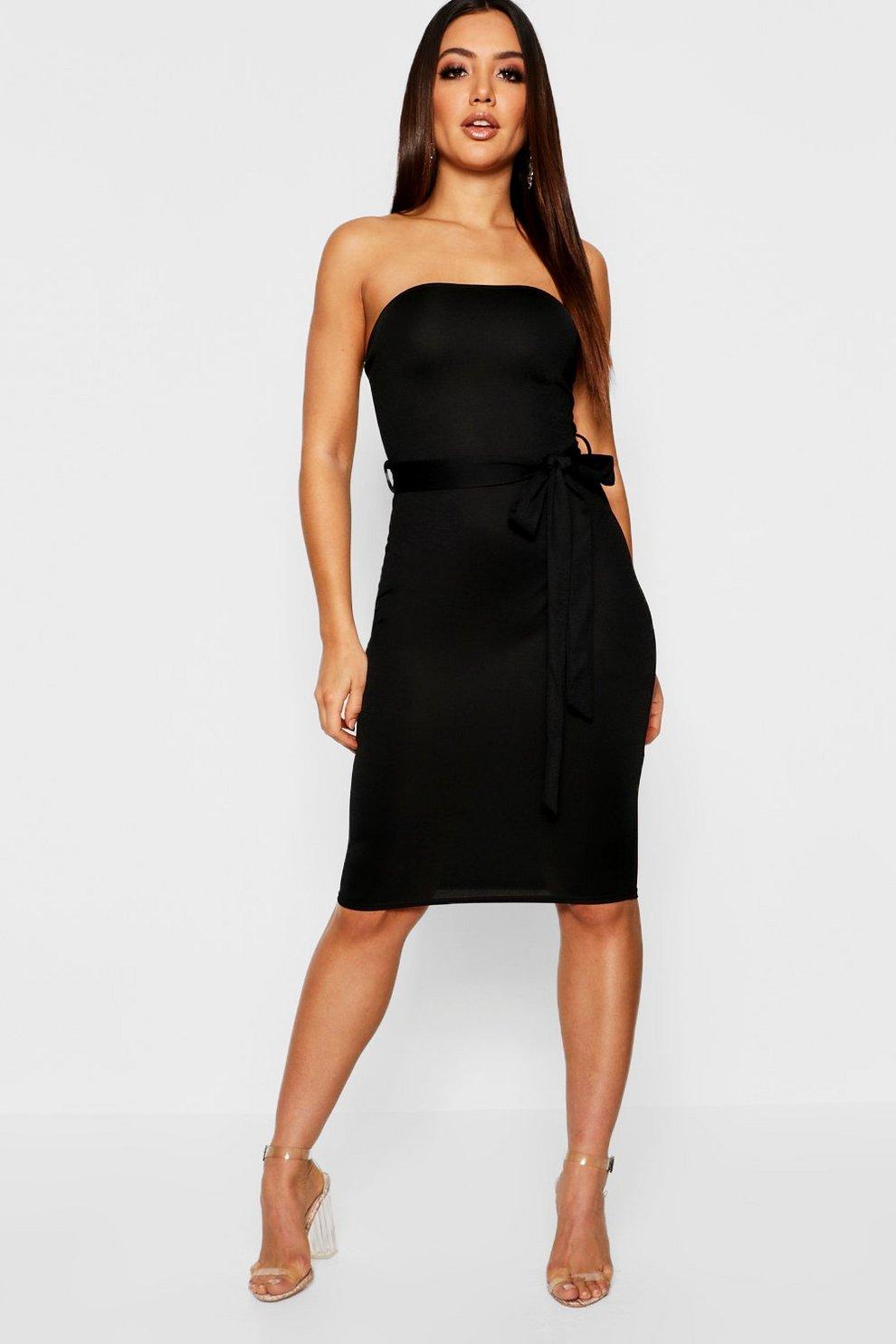 410b389e70d1 Bandeau Tie Belt Midi Dress | Boohoo