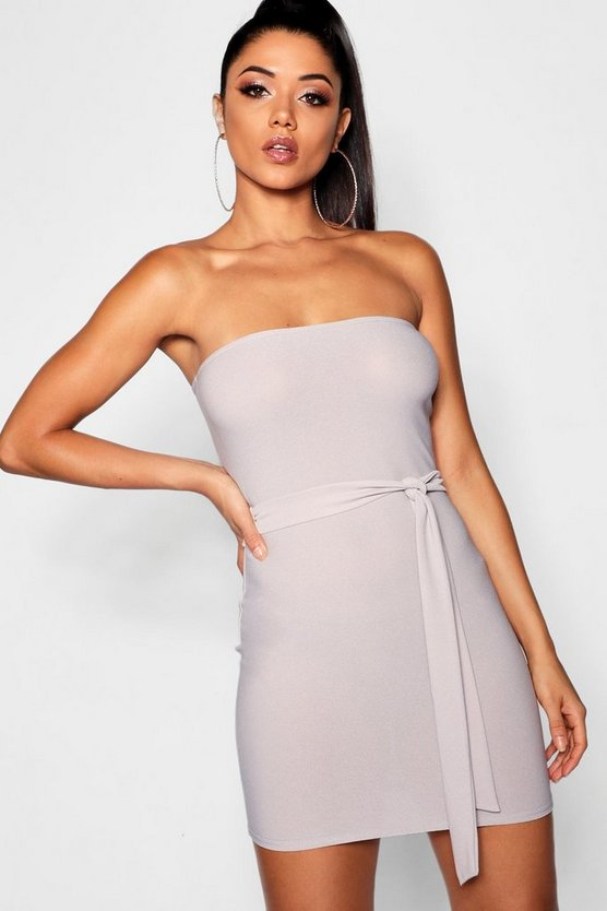 Womens Grey Bandeau Tie Belt Bodycon Dress