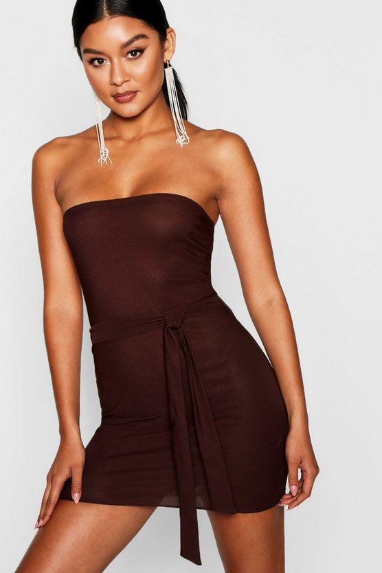 Womens Chocolate Bandeau Tie Belt Bodycon Dress