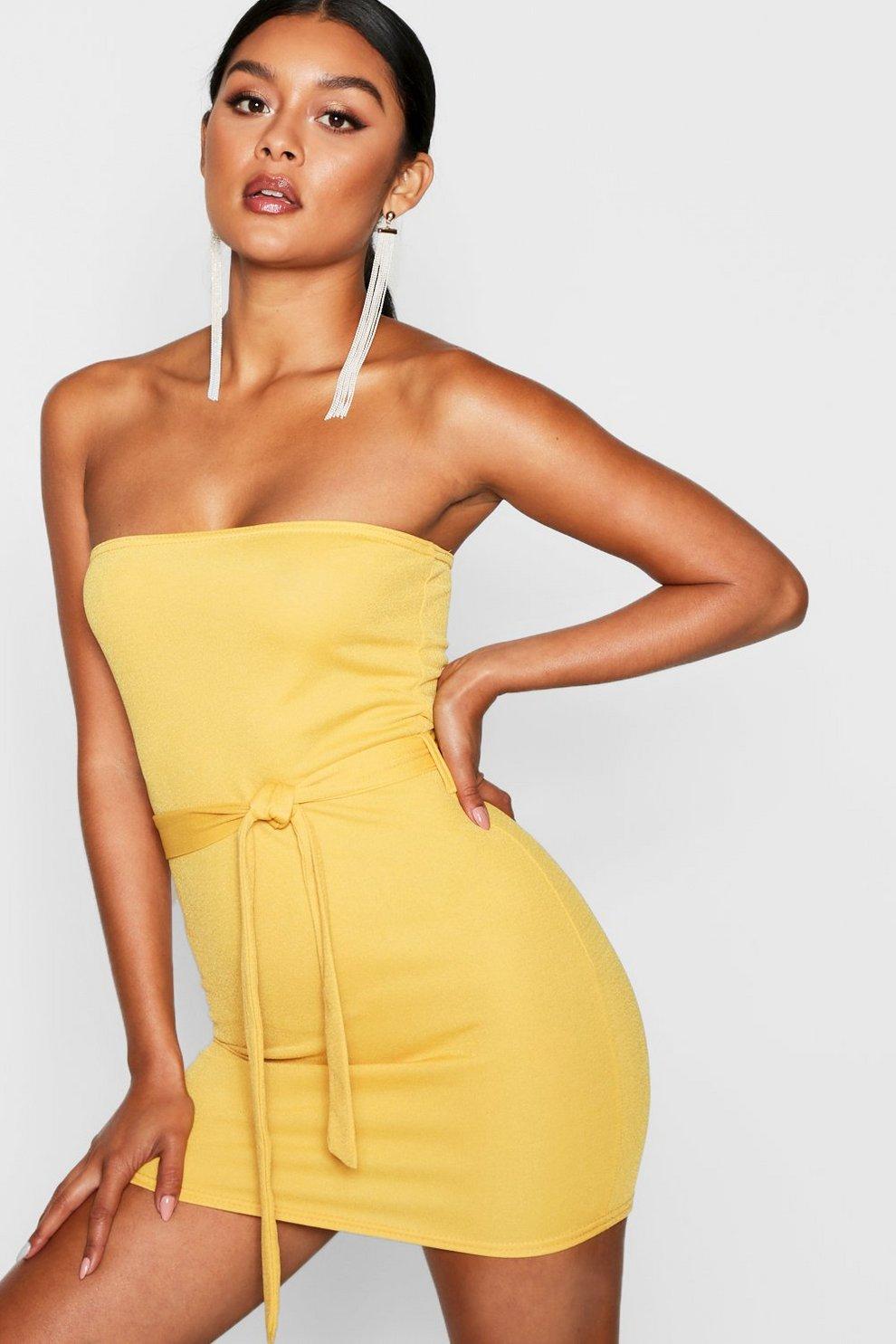 eb9d51feeb3a Womens Mustard Bandeau Tie Belt Bodycon Dress