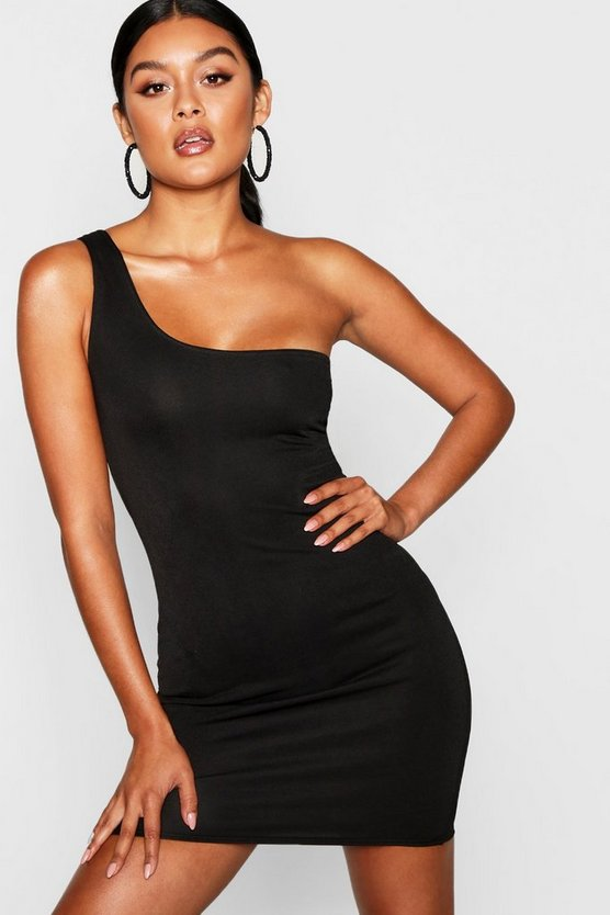 Thick One Shoulder Strap Bodycon Dress