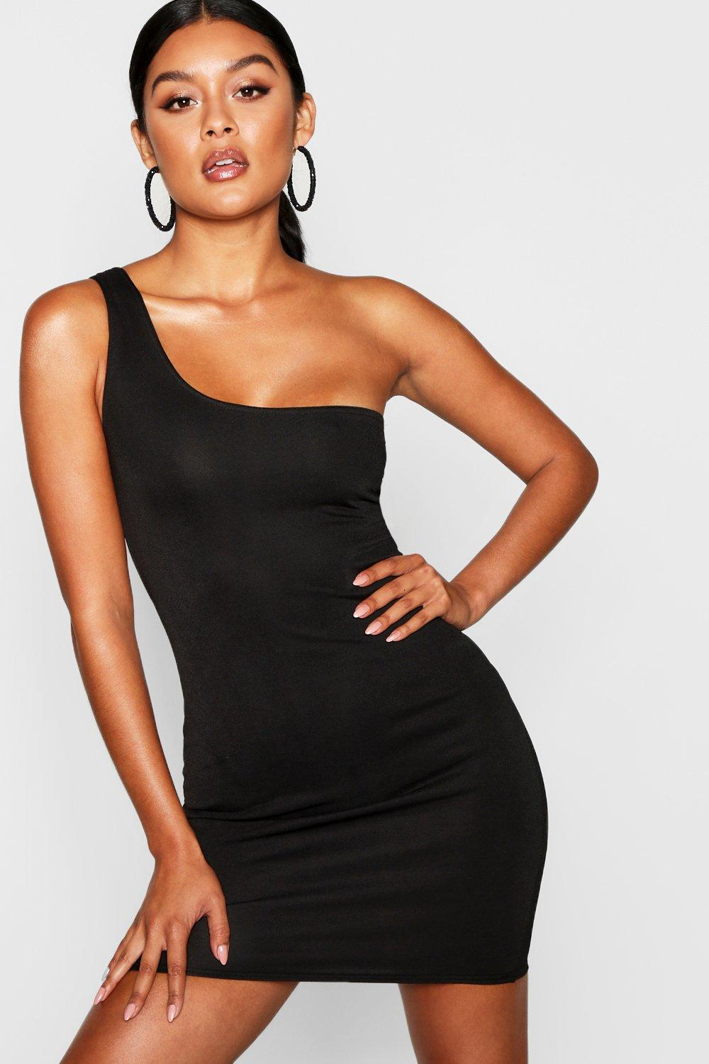 a871ad3b2 Womens Black Thick One Shoulder Strap Bodycon Dress. Hover to zoom