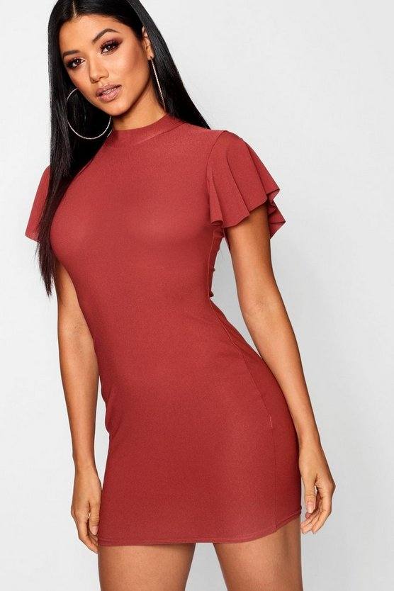 High Neck Frill Sleeve Bodycon Dress