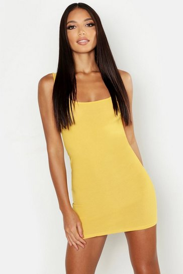 Mustard Longline Square Neck Bodycon Dress
