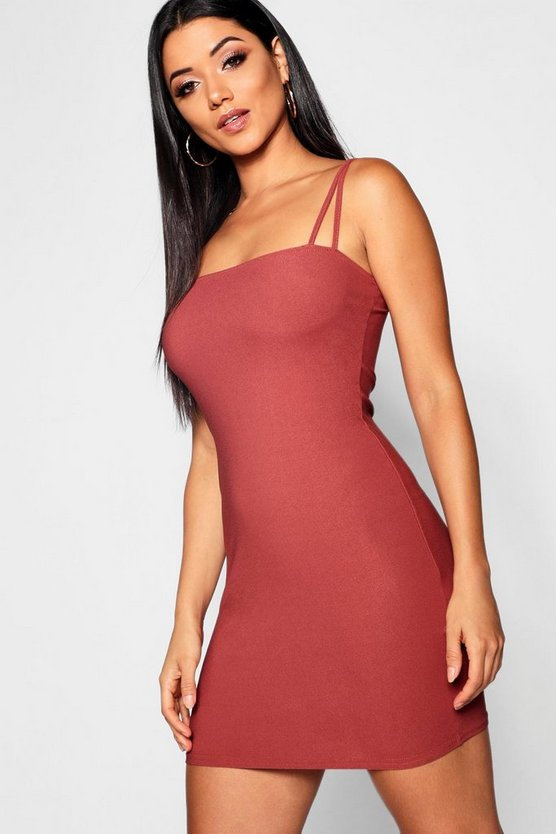 Square Neck Cross Strappy Bodycon Dress