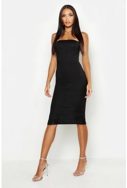 Womens Black Bandeau Midi Dress