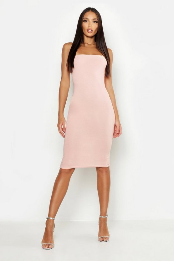 Womens Blush Bandeau Midi Dress
