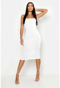Ivory Bandeau Midi Dress