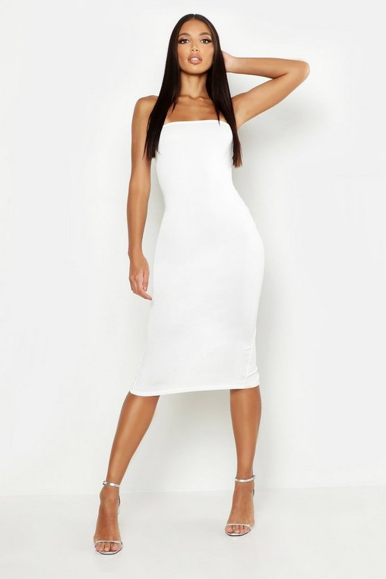 Womens Ivory Bandeau Midi Dress