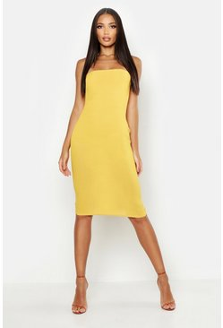 Womens Mustard Bandeau Midi Dress
