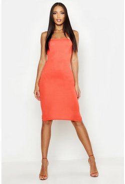 Womens Orange Bandeau Midi Dress