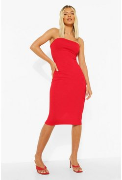 Womens Red Bandeau Midi Dress