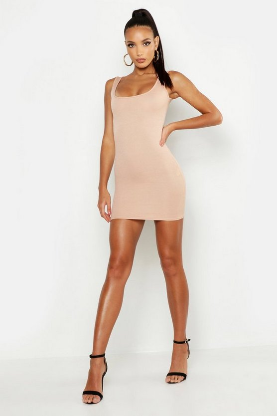 Womens Stone Longline Square Neck Bodycon Dress