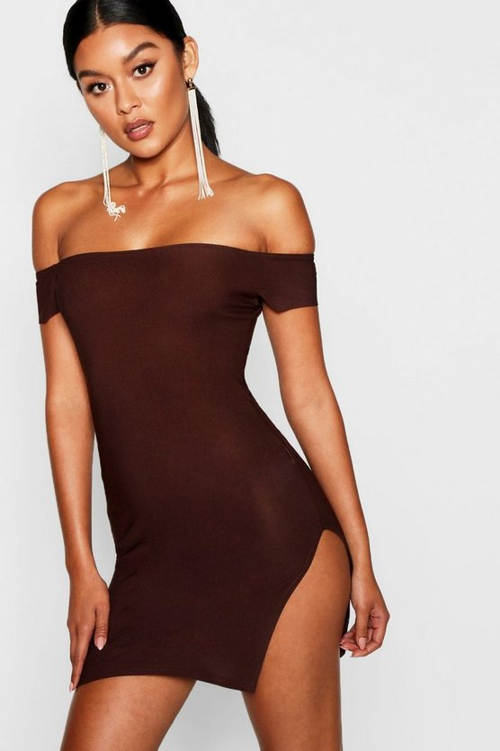 Off The Shoulder Thigh Split Bodycon Dress