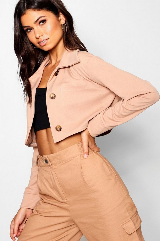 Mock Horn Button Through Trucker Jacket Mock Horn Button Through Trucker Jacket by Boohoo