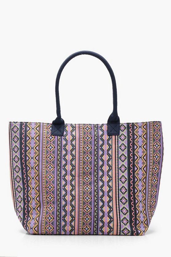 Womens Pink Aztec Oversized Beach Bag