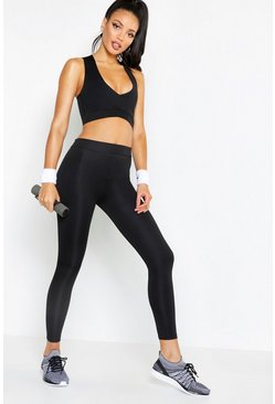 Womens Black Fit High Waisted Running Leggings
