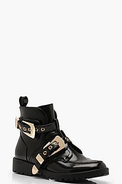 Chunky Buckle Ankle Boots