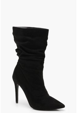 Womens Black Pointed Toe Ruched Calf High Shoe Boots