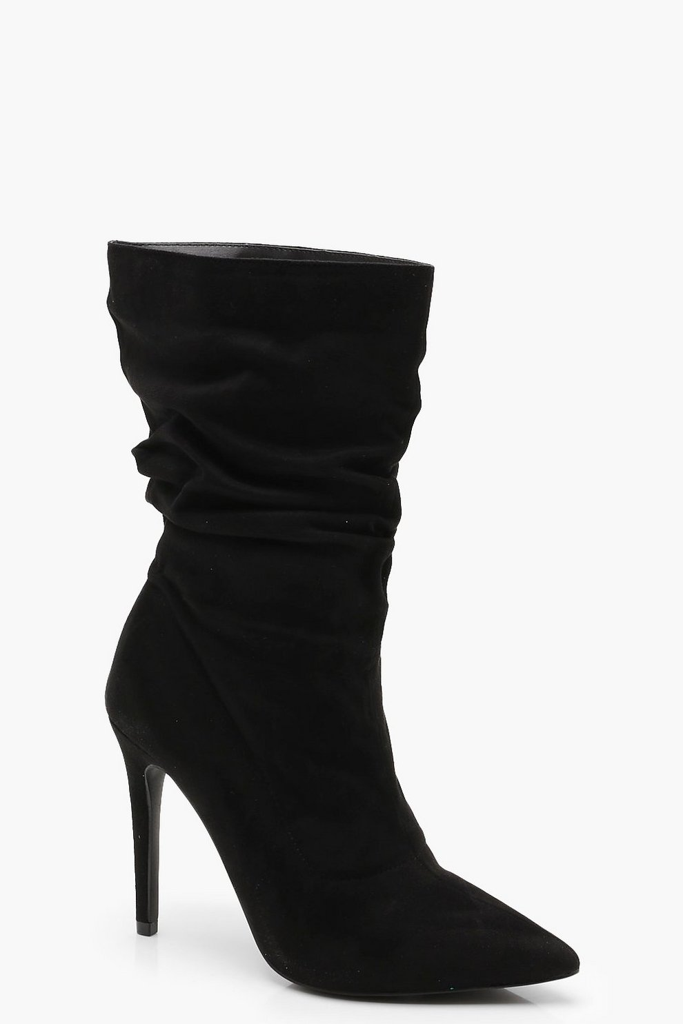 1ed7c4edf707 Pointed Toe Ruched Calf High Shoe Boots