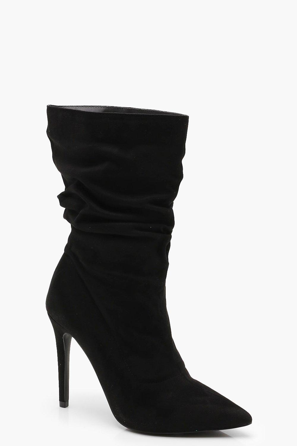 1ce03df95b86 Womens Black Pointed Toe Ruched Calf High Shoe Boots. Hover to zoom