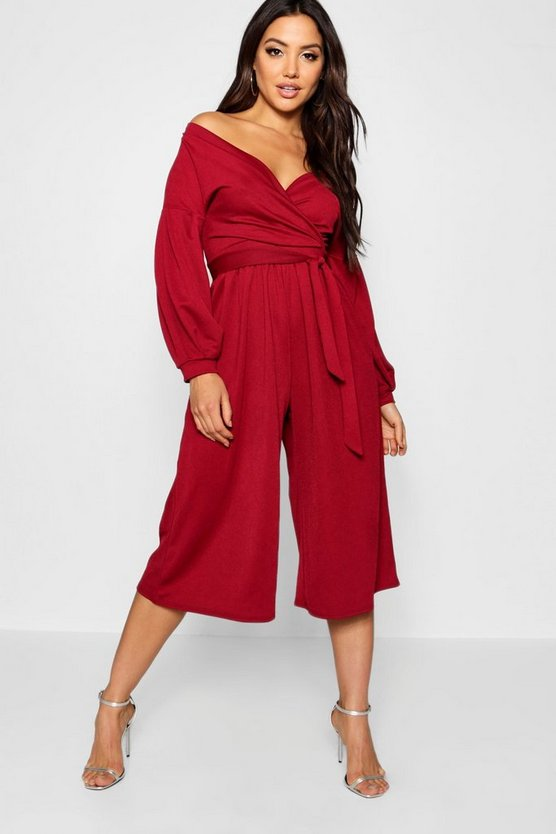 Womens Berry Off The Shoulder Culotte Jumpsuit
