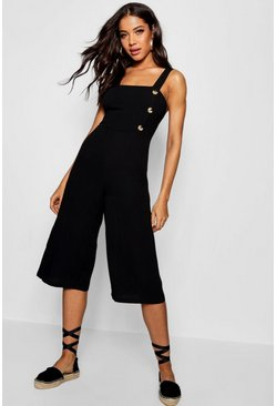 Womens Black Linen Horn Button Culotte Jumpsuit