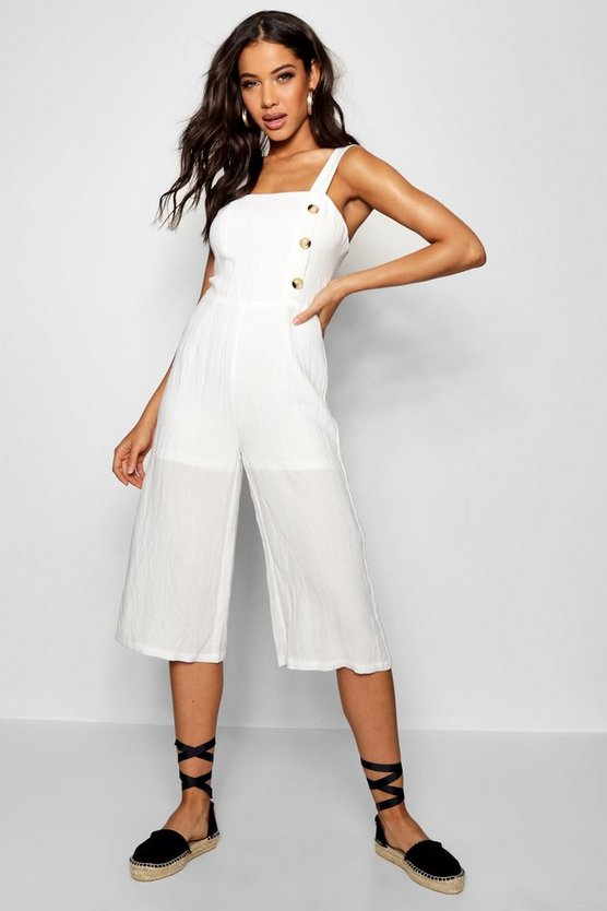 Linen Horn Button Culotte Jumpsuit