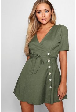Womens Khaki Elva Short Sleeve Tie Waist Button Front Dress