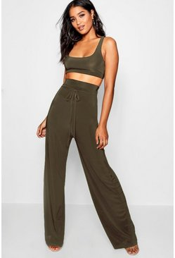 Womens Khaki Super High Waist Pants Co-Ord
