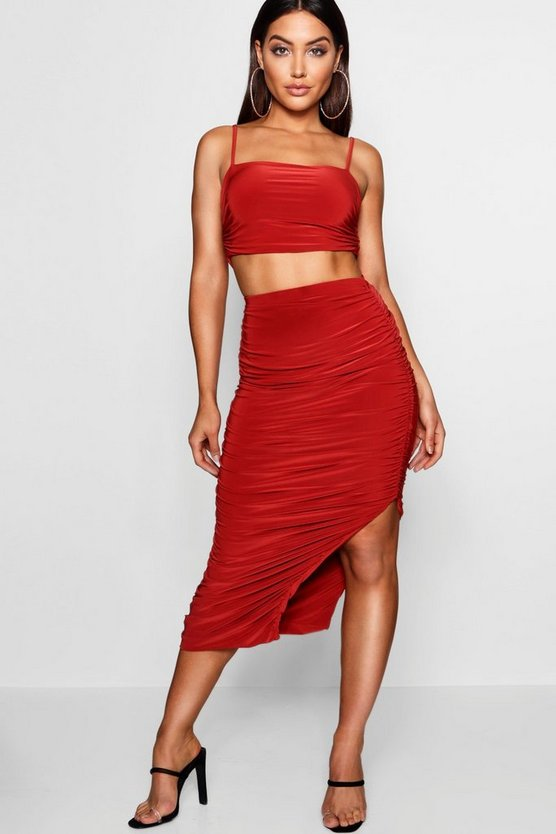 Ruched Slinky Midaxi Skirt & Square Top Co-ord
