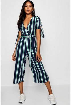 Womens Navy Striped Culotte Jumpsuit
